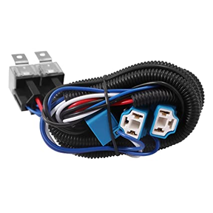 Swell Amazon Com 4 Headlight Relay Wiring Harness For H4 Light Bulb Wiring Cloud Tobiqorsaluggs Outletorg