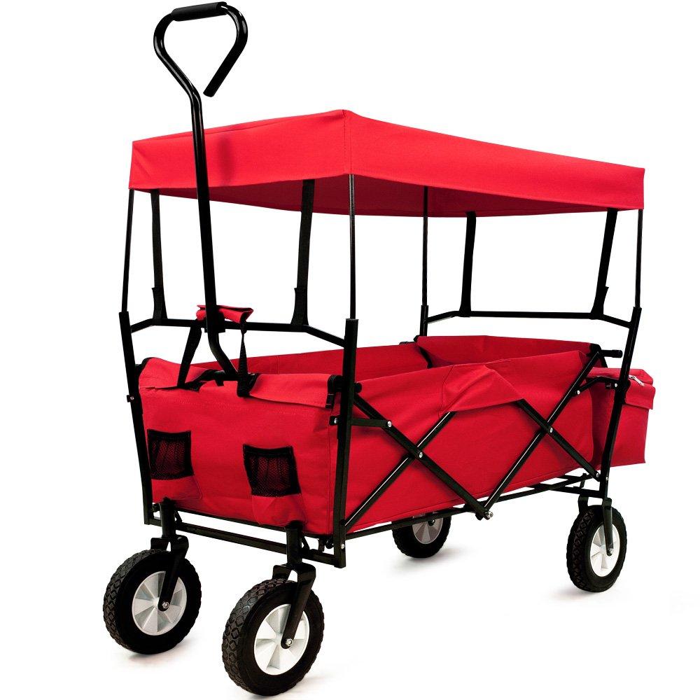 Deuba Bollerwagen faltbar klappbar bis 100kg Handwagen mit Dach Faltwagen Tragkraft Klappbollerwagen rot