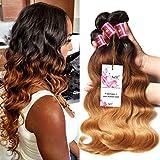 Unice Hair 3 Bundles Brazilian Hair Body Wave Ombre Extensiones de cabello 8a Grado Onda de cabello humano 300g # 1b / # 4 / # 27 (16 16 16)