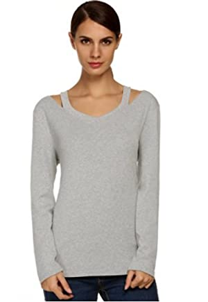 POGT Women Sexy Long Sleeve Shoulder Slit V Neck Solid T-Shirt Casual Tops Blouse (XL, Gray)