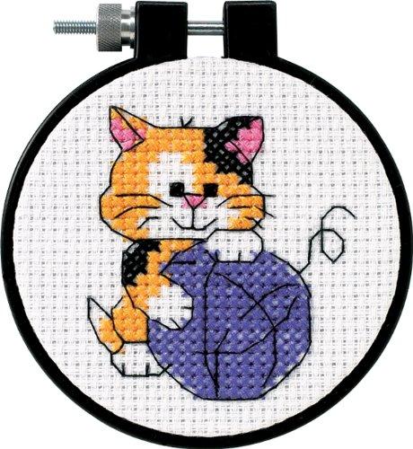 Dimensions D73038 | Cute Kitty Beginners Counted Cross Stitch Mini-Kit | 8cm