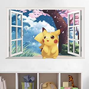 Cartoon Pikachu Wall Stickers for Baby Kids Rooms Wall Art Decals Decor Pikachu Through Wall Stickers