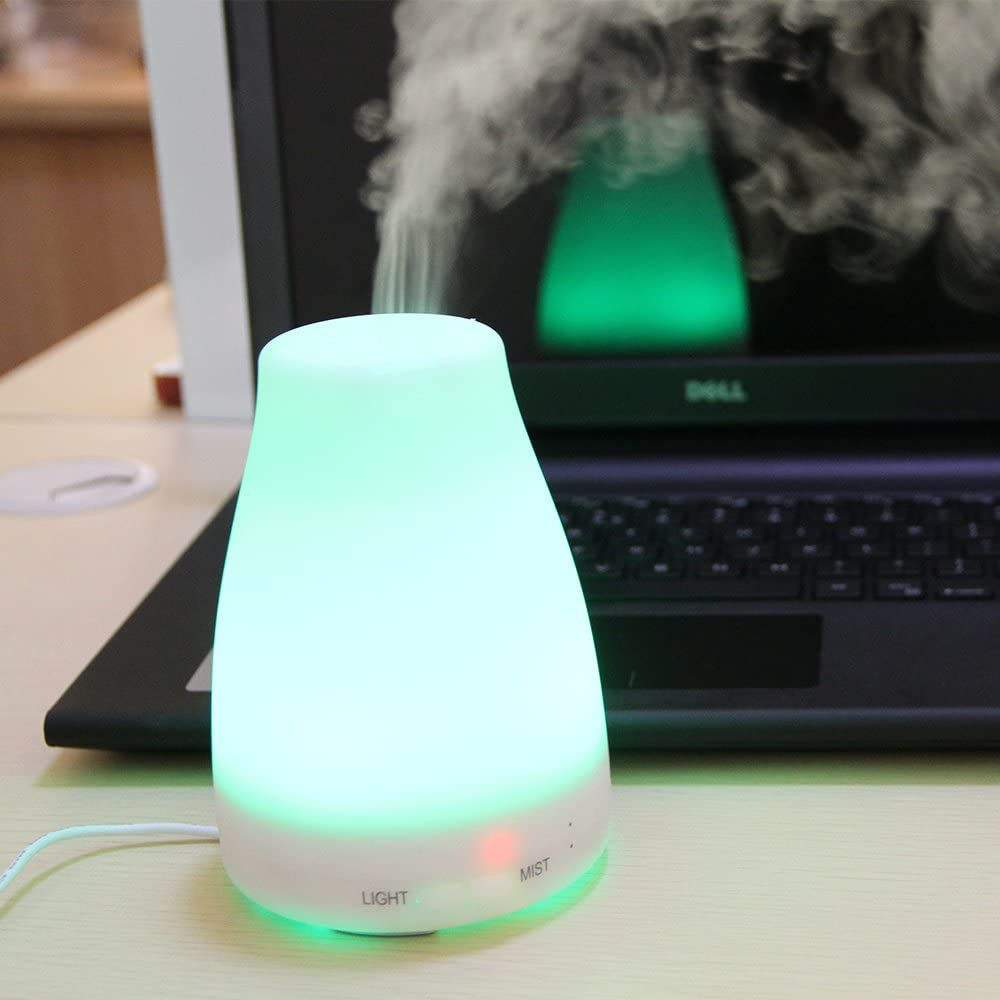 Aromaer 120ml Aromatherapy Essential Oil Diffuser Portable Ultrasonic Cool Mist Aroma Humidifier with Color LED Lights Changing and Waterless Auto Shut-off Function for Home Office Bedroom Room
