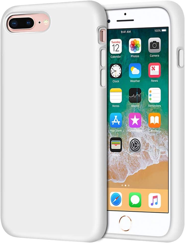 "iPhone 8 Plus Case, iPhone 7 Plus Case, Anuck Soft Silicone Gel Rubber Bumper Case Microfiber Lining Hard Shell Shockproof Full-Body Protective Case Cover for iPhone 7 Plus /8 Plus 5.5"" - White"