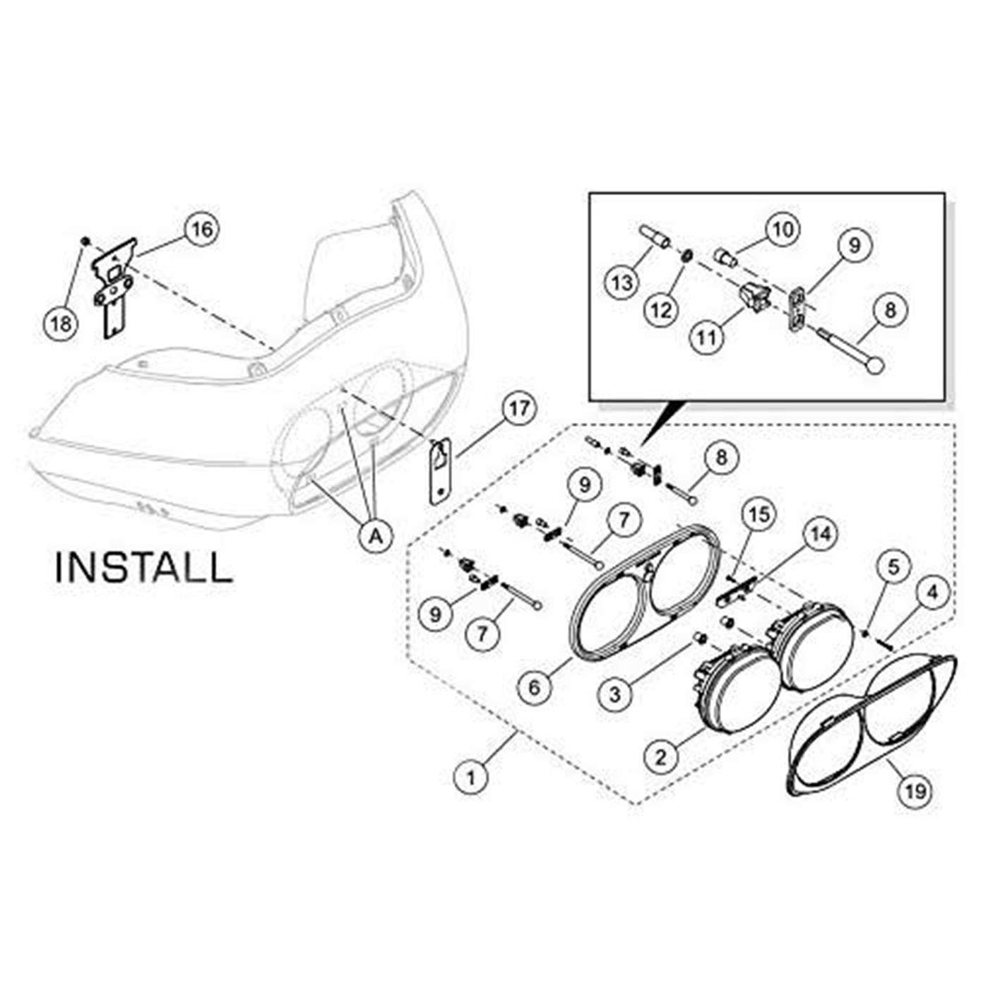 Amazon Funlove Daymaker Projector Dual Led Headlight For Harley Davidson Road Glide 20042013 Automotive: Spec D Halo Headlight Wiring Diagram At Chusao.net