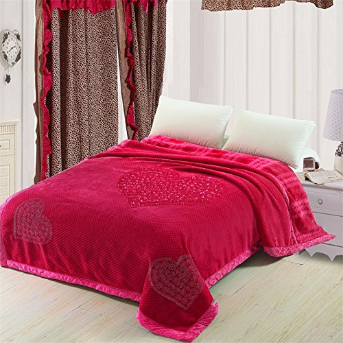 Znzbzt Wedding red blanket thick-pile carpet in winter cover wedding celebration red double blanket ,200X230-9 catty, red three hearts - red by Znzbzt