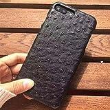 Ostrich Skin PU Leather iPhone 8 Case - Back Cover (Black)