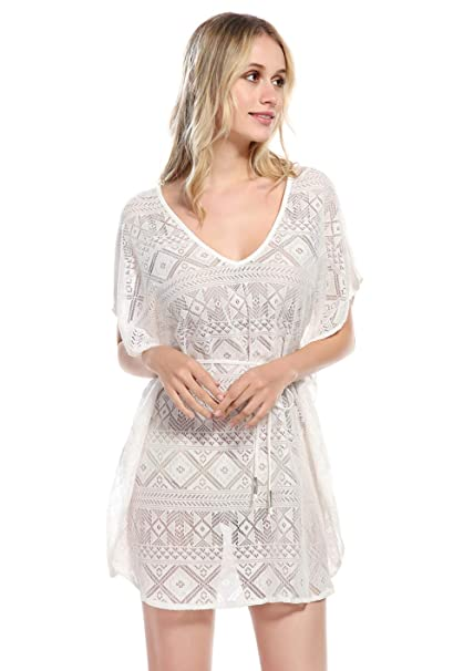 Sunday Rose Women Swimwear Bikini Cover Ups Lace Crochet Beach Dress