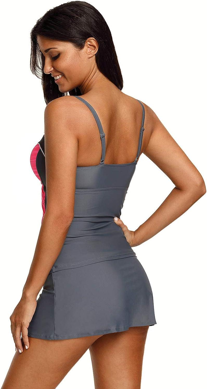 Pengzitou Womens Two Piece Bathing Suit Push up Printed Tankini Swimsuits S-XXXL