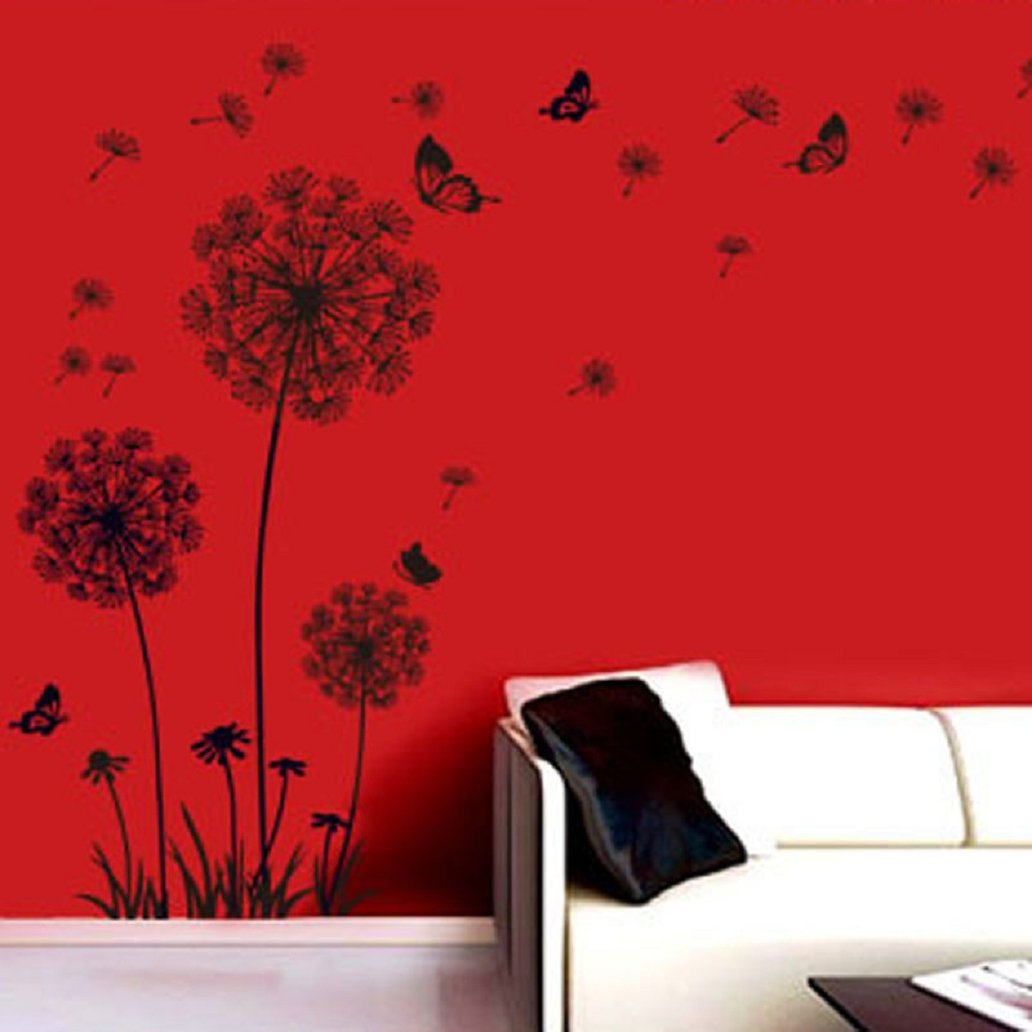 malloom® tarassaco neri e farfalle che volano nel vento adesivi ... - Adesivi Per Camera Da Letto