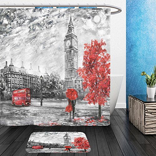 Vanfan Bathroom 2 Suits 1 Shower Curtains &  1 Floor Mats oil painting on canvas street view of london artwork big ben man and woman under a red umbrella 524573515 From Bath room