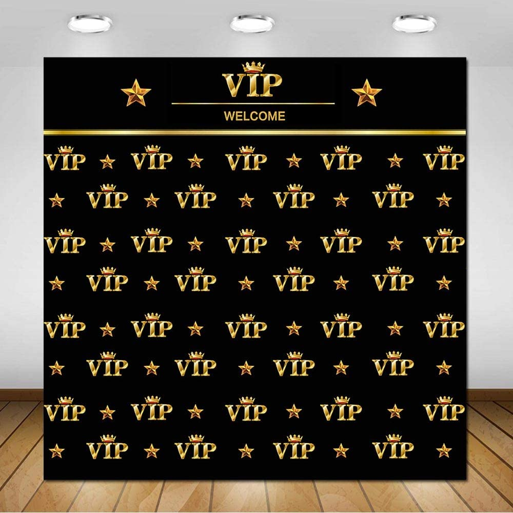 COMOPHOTO 8x8ft Gold VIP Crown Star Photography Backdrops Adults Children Party Event Banner Wedding Decorations Photo Studio Booth Background for Printed Pictures