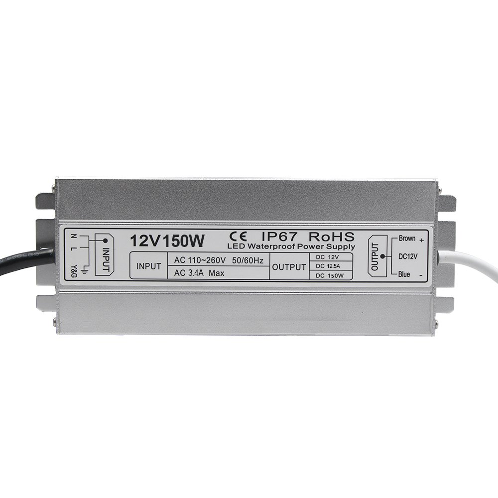 LED Driver Waterproof IP67 Power Supply 150W 12V DC 12.5a Transformer thinner and Durable with US 3-Prong Plug Plate for Outdoor Use by HFJY (Image #3)