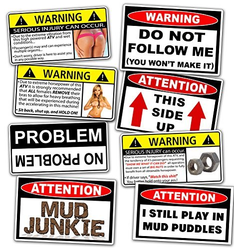 Funny ATV Warning Decal Off Road MUD 4x4 Sticker Pack (Mud Decal)