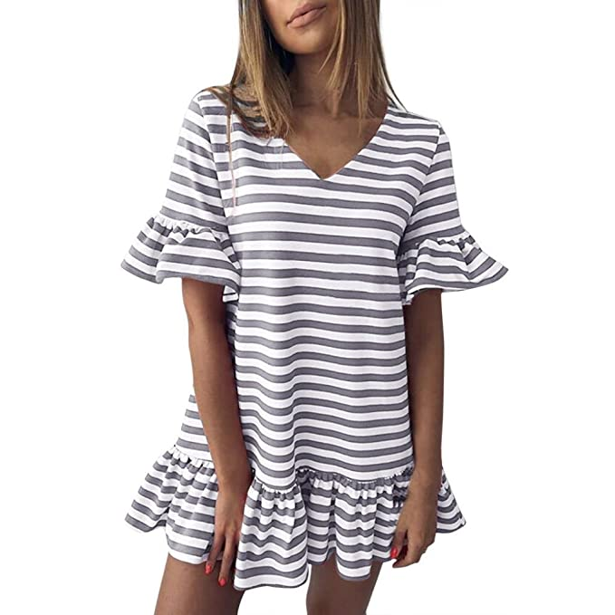 Goosuny Mini Kleid Mode Damen Schmetterling Kurzarm V-Ausschnitt Streifen  Print Rüschen Plissee Kurze Kleider Lange Tops Gestreift T Shirt Casual  Freizeit ... e86251c52c