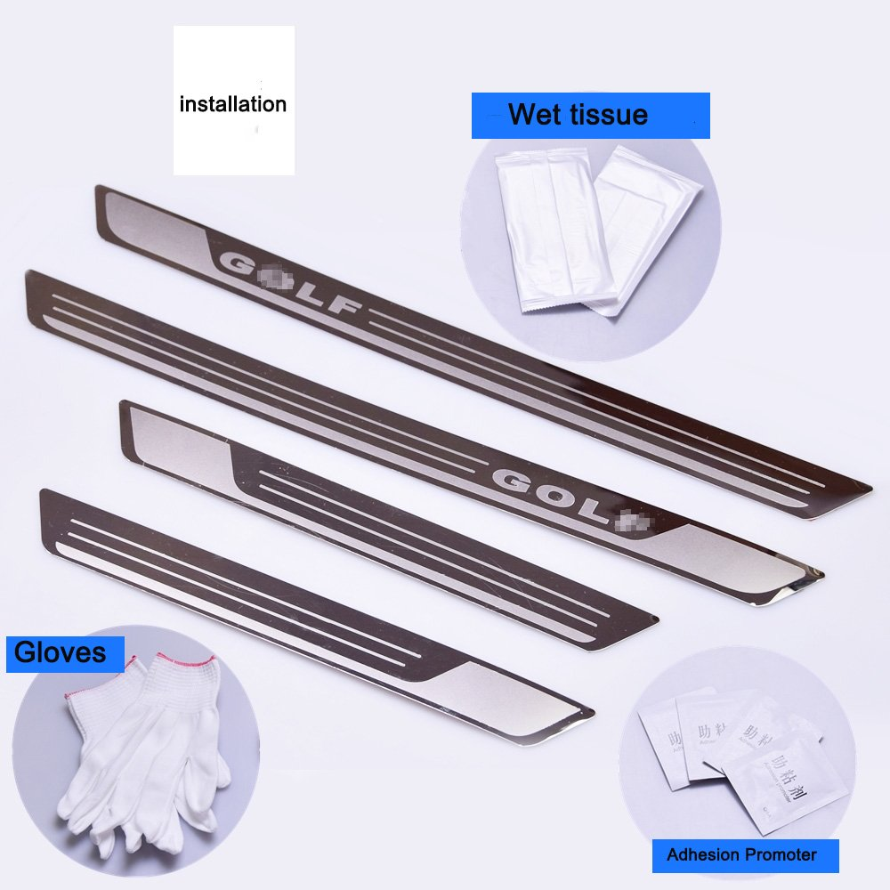 AUNAZZ/Car Door Entry Guards Door Scuff Step Plate Sill Cover Panel Guard Sills Protector Trim 4 PCS Attached installation tool Autohelena