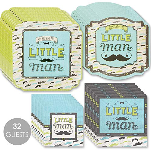 Big Dot of Happiness Dashing Little Man Mustache - Baby Shower or Birthday Party Tableware Plates, Napkins - Bundle for 32
