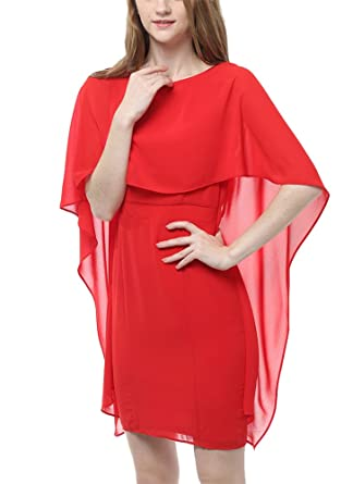 39307807a7d8f MILEEO Damen Chiffon Kleid Knielang mit Fledermausärmel Cocktailkleid  Elegant Einfarbig