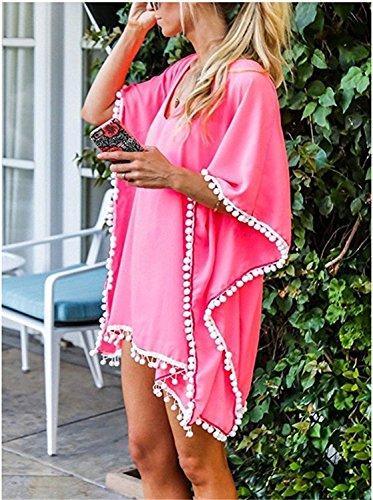 Copricostume Up Tunica Beach Blouse Copri Pink V A Maglia da Abito da Copricostume Boho Bagno Donna Costumi Kaftan Top Kimono Mare Bikini Spiaggia Estate in Cover Pizzo Parei Scollo Tkiames Camicetta dwSTqpxd