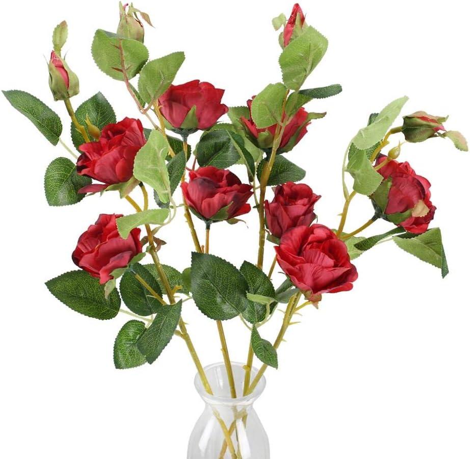 HUAESIN Flores Artificiales Rosa Bouquet de Flor Artificial Roja Ramo de Novia Flores Artificiales Decoracion Jarrones para Exterior Interior Mesa Hogar Boda Fiesta Jardin Primavera Cementerio