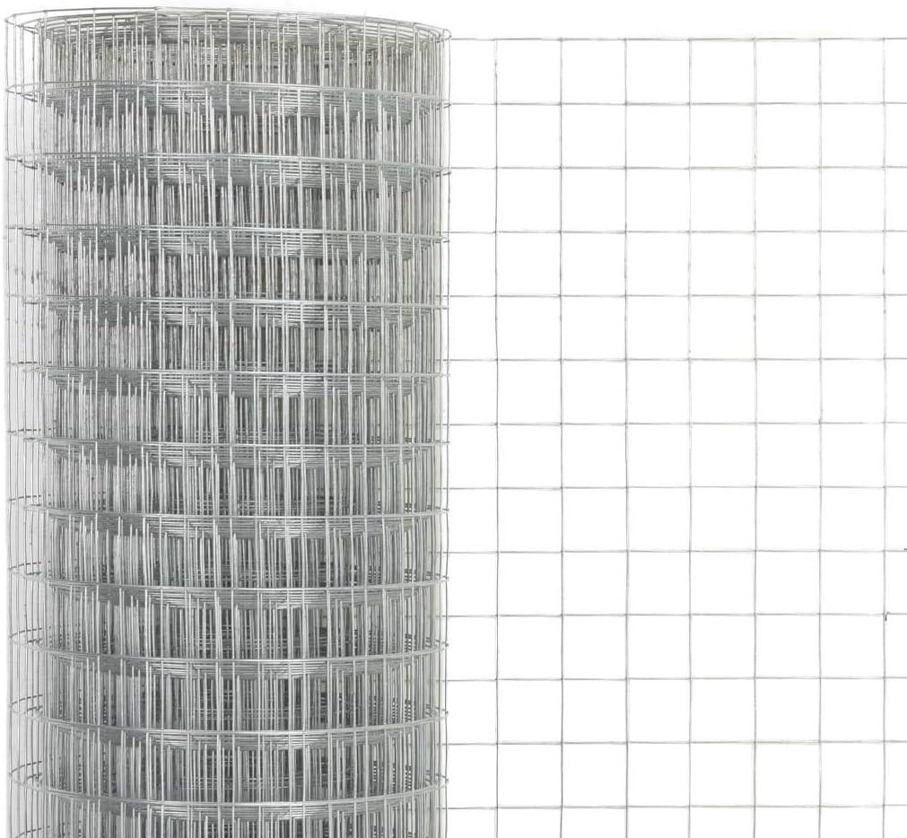UnfadeMemory Maschendraht Verzinkter Stahl Maschendrahtzaun mit Quadratischen Maschen Drahtgeflecht Silbern Stahldraht Geflecht Drahtgitter Wasser Maschenweite 25x25mm, 10x1,5m und wetterfest