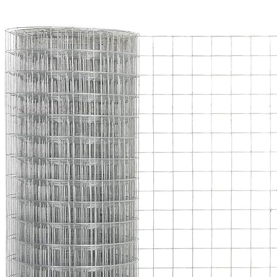 yorten Malla de Alambre Cuadrada Acero Galvanizado Malla de Alambre Resistente al Agua y a la Intemperie 10x0,5 m Plateado