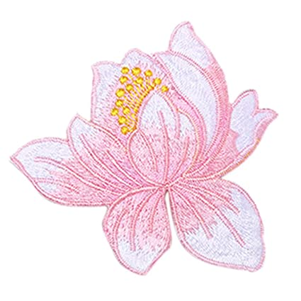 Amazoncom 1 Pc Lotus Flower Clothing Embroidery Patch Sticker Iron