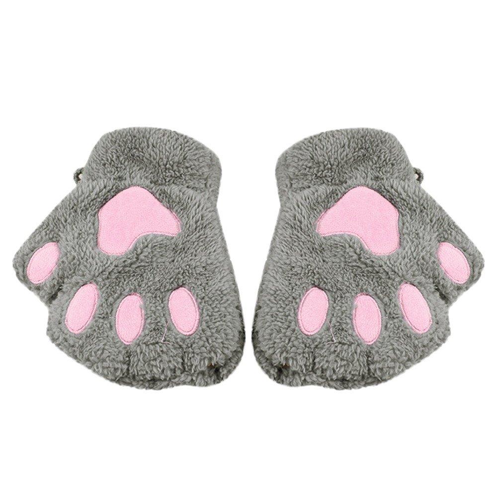 HYIRI 2018 promotionNEW Fansion Fashion Girl Cat Claw Paw Fingerless Winter Warmer Half Finger Gloves Mitten