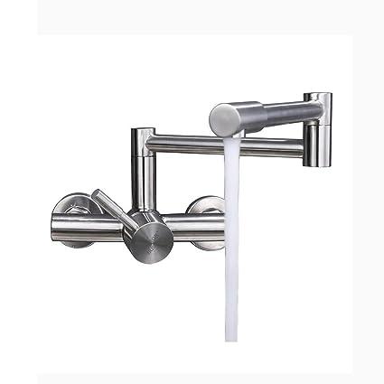 SJQKA-304 acciaio inossidabile doppio foro rubinetto, muro di tipo cucina  il caldo e il freddo, il balcone lavandino, piatto del rubinetto, piegando  ...