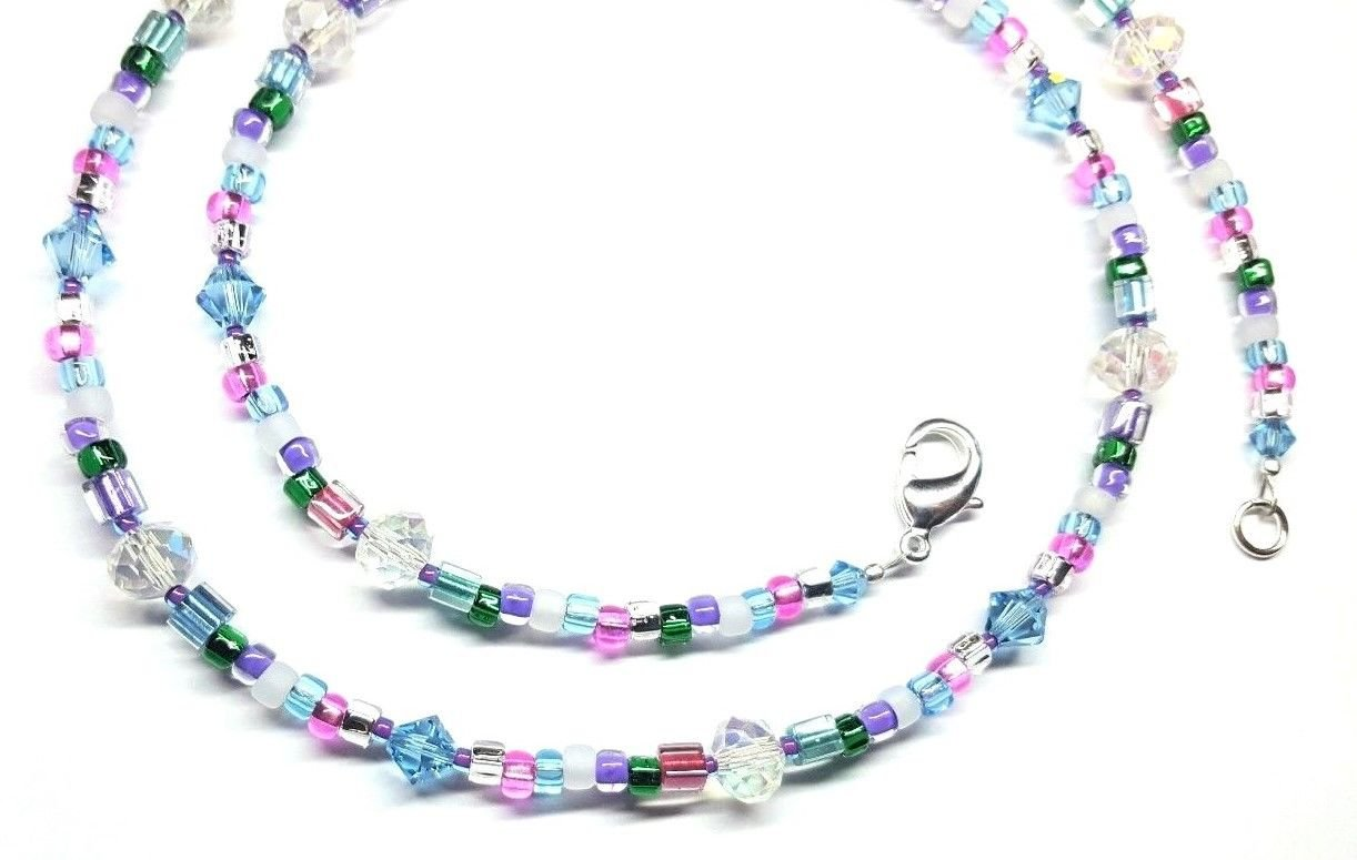 1cf4fc05de959 Amazon.com: Aquamarine Austrian Crystal Confetti Beaded Necklace ...