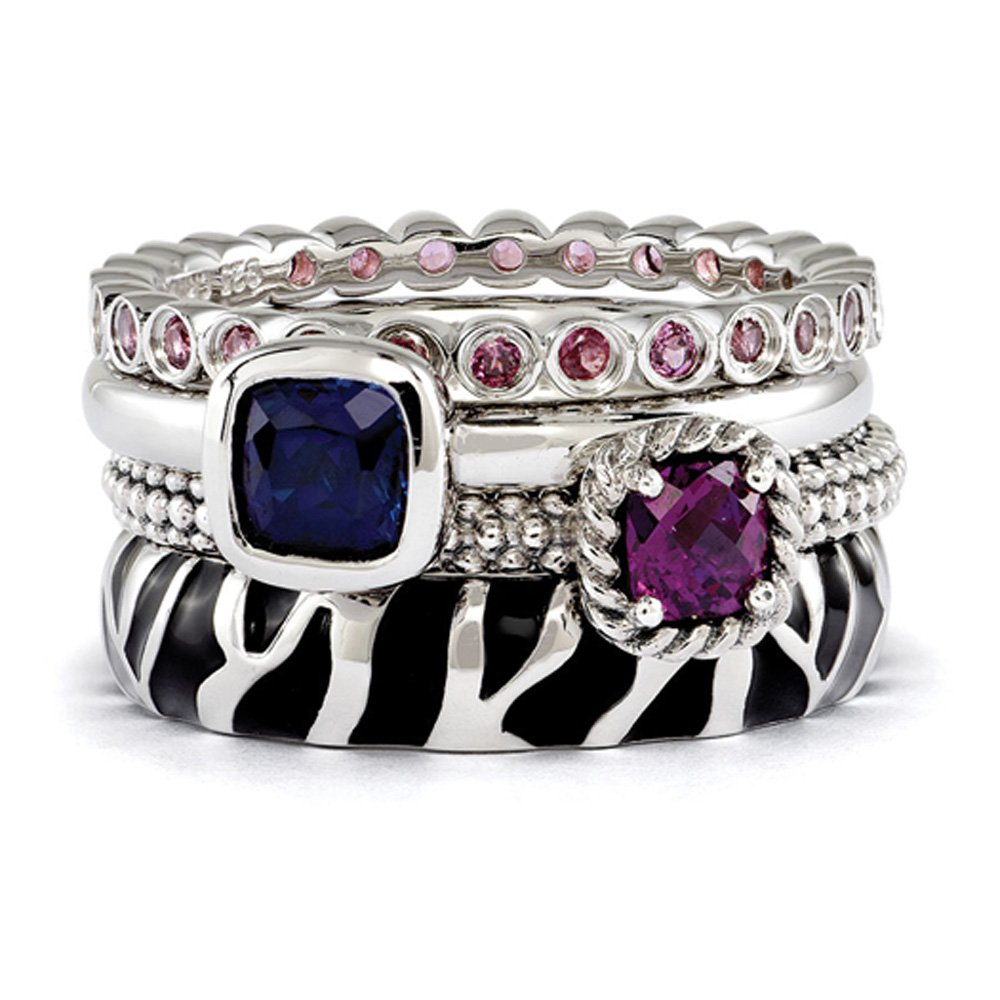 Sterling Silver Stackable Safari Gemstone Ring Set Size 8