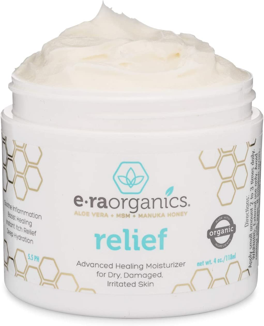 Natural Cream for Eczema, Psoriasis & Dermatitis - Advanced Healing 15-in-1 Non-Greasy Moisturizer with Aloe Vera, Manuka Honey & More. Natural Eczema Cream for Dry Itchy Skin Care 4oz Era-Organics