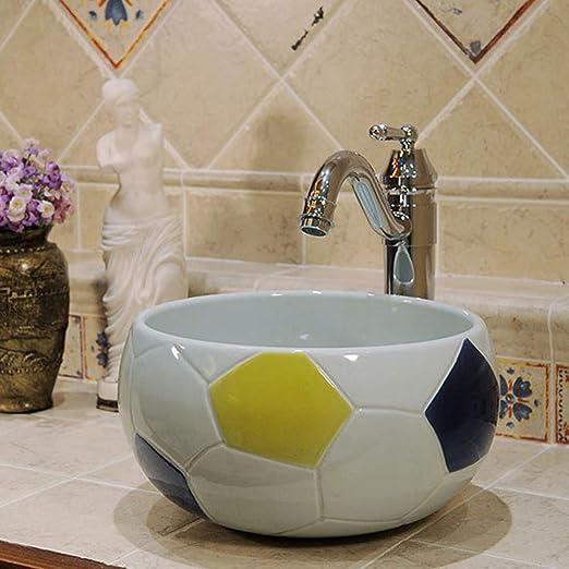 MICOKY Lavabo de encimera de fútbol creativo sobre el mostrador lavabo baño de niños lavabo de jardín de infantes mini redondo de cerámica lavabo simple sin grifo de agua 32 * 14: