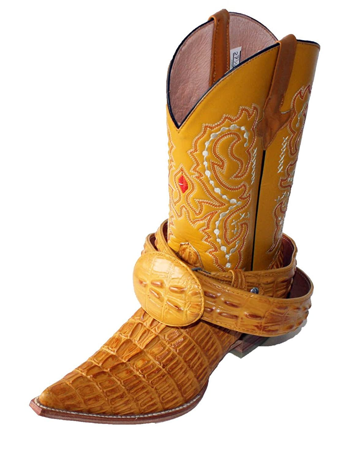 Dona Michi Mens Western Cowboy Leather Crocodile Print (Embossed) Boots/Free Belt