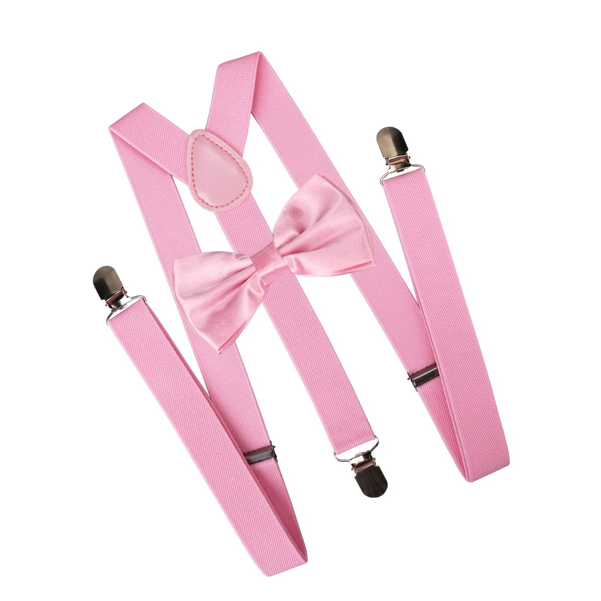Pink Exacoo Suspender Y Shape with Strong Clips Adjustable Braces With Bow Ties Gift Idea for Mens