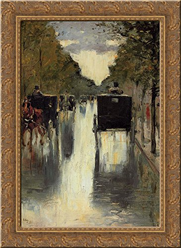 Cab Street Scene - Berlin street scene with horse-drawn cabs 24x18 Gold Ornate Wood Framed Canvas Art by Lesser Ury