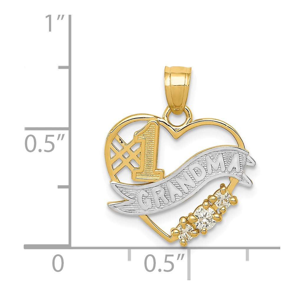 Mia Diamonds 14k Yellow Gold with Rhodium CZ #1 Grandma Heart Pendant