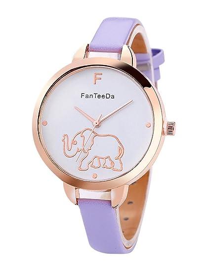 Para mujer elefante reloj, poto ry-208 2017 nueva señoras de piel sintética de mujer esfera analógica cuarzo reloj de pulsera regalo: Amazon.es: Relojes