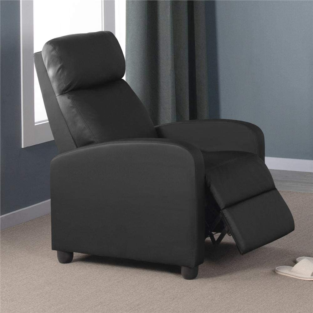 Topeakmart Wingback Single Recliner Chair Recliner Sofa Lazy Boy Sofa Club Chair Home Theater Seating Black