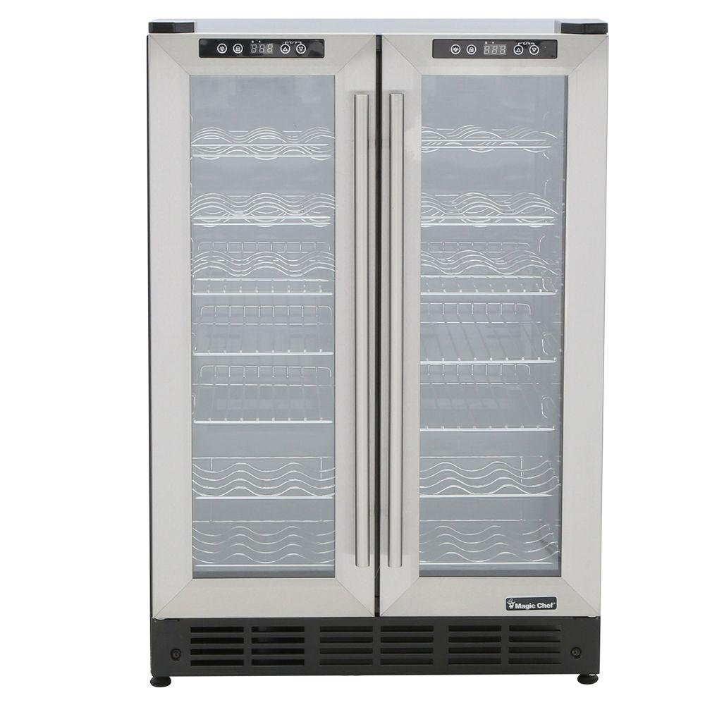 Magic Chef MCWBC24DST Dual Zone 23.4 in. 42-Bottle 114 Can Wine and Beverage