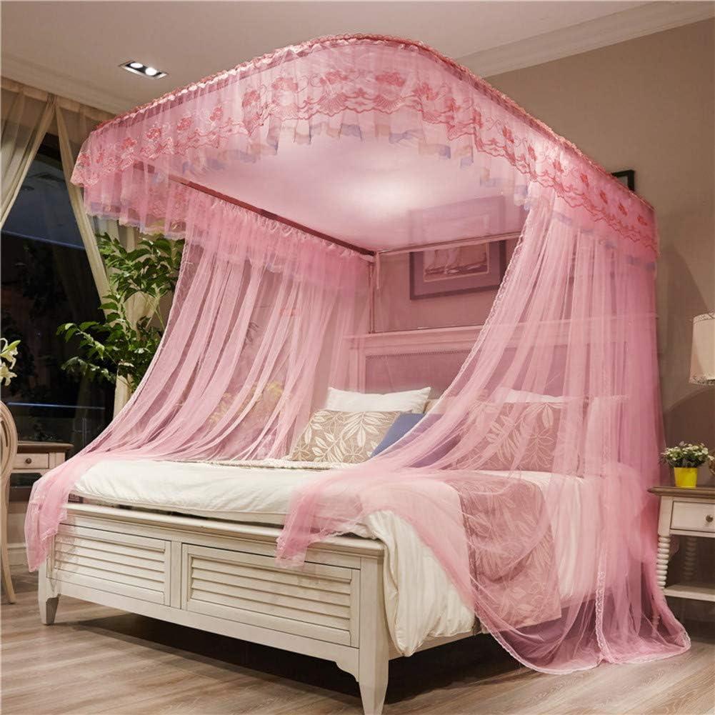 ピンクベッドキャノピー,プリンセス調整可能な蚊帳 ガイド レール 暗号化糸 レース ダブルベッド用ベッドカーテン-b