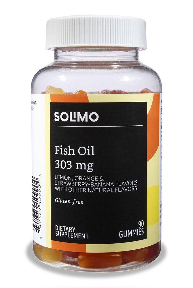 Amazon Brand - Solimo Fish Oil 303 mg, 90 Gummies (2 Gummies per Serving)