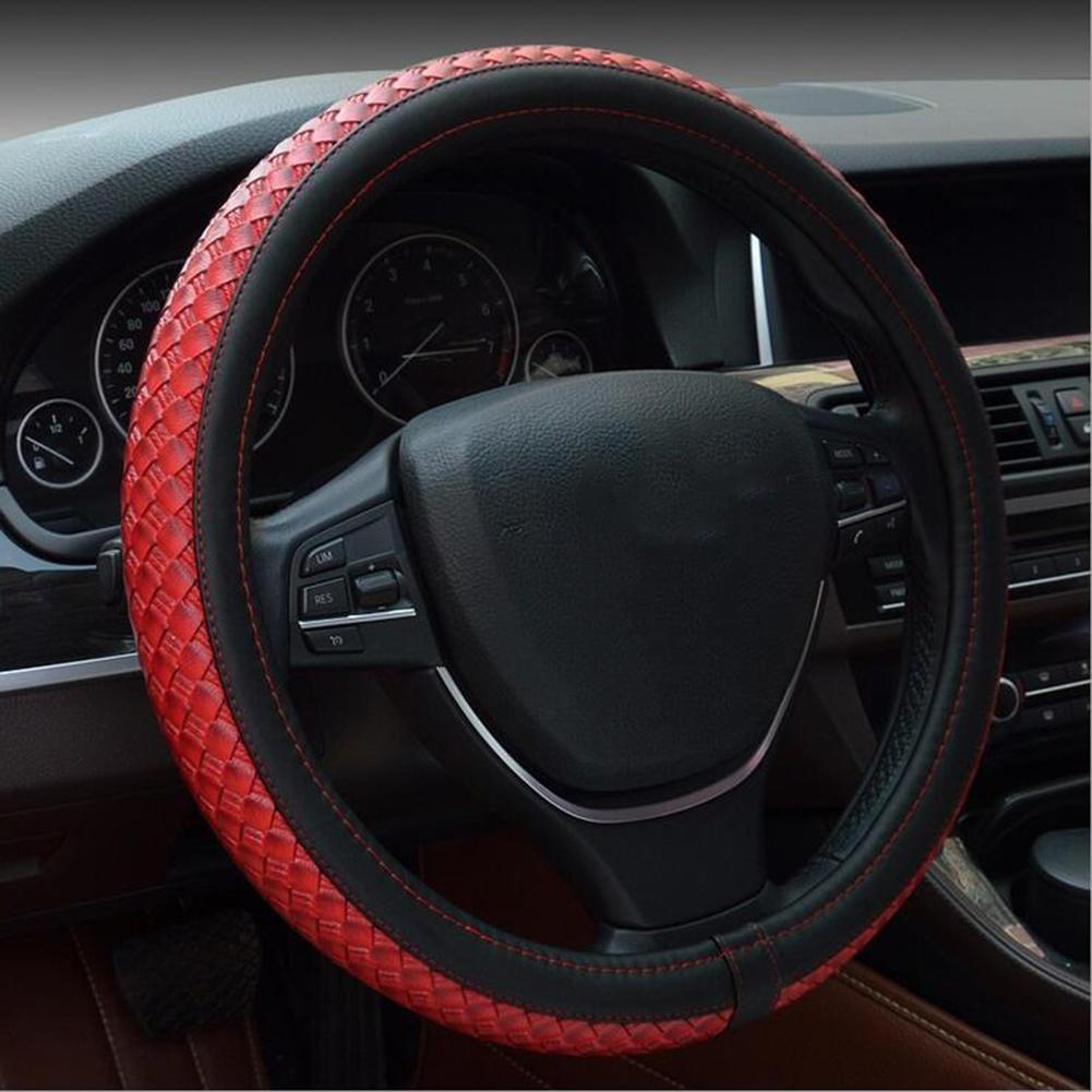 QLL C Nouvelle Housse de Volant Fait à LB Main Importé Microfiber PU Universal Guidon Ensembles de Fournitures Automobiles, Black Red, 38cm