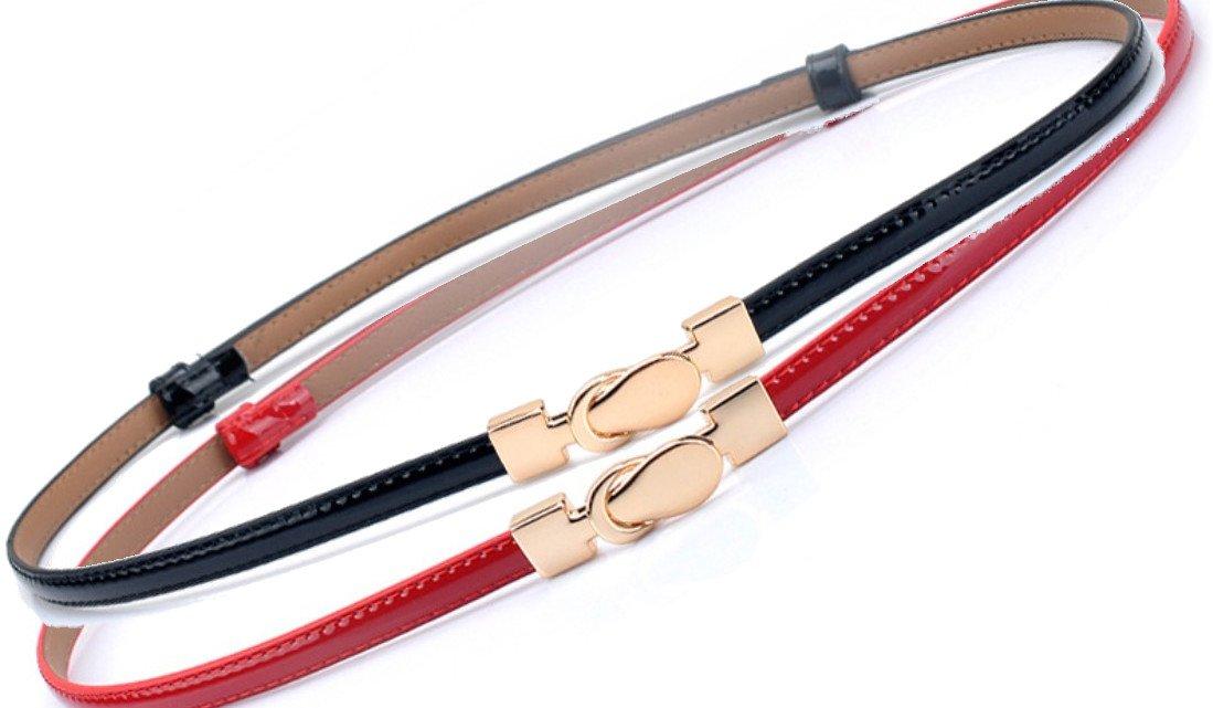 Mary's Chue Women Leather Skinny Waist Belt [ black, red 2 Color Set ] Hook Buckle For Dress