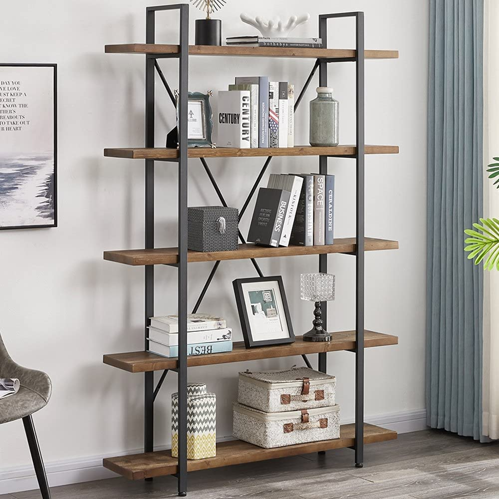 IBF Solid Wood 5 Shelf Bookcase, Modern 5 Tier Bookshelf, Rustic Industrial Book Shelf for Office, Farmhouse Wooden Open Tall Etagere Bookcase for Living Room Bedroom, Distressed Grey and Black