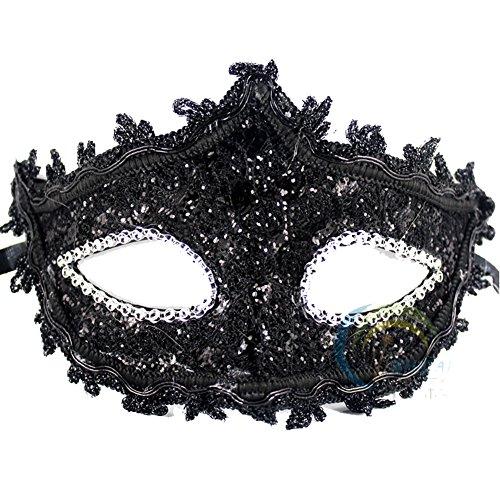 Geek-M Halloween Costume Lace with Rhinestone Venetian Mask Women Masquerade Mask (Geek Costume For Halloween)