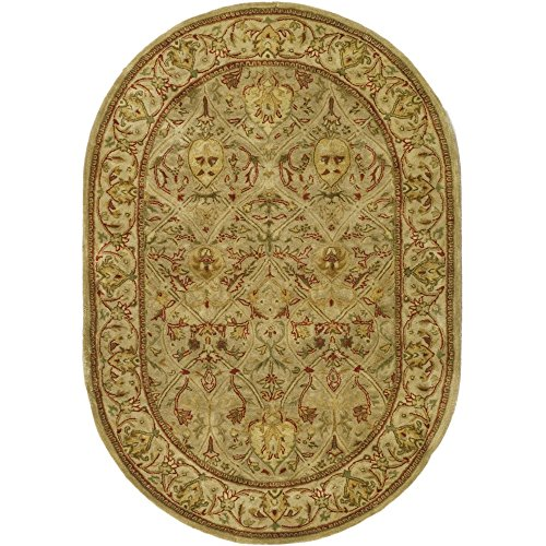 Safavieh Persian Legend Collection PL819G Handmade Traditional Moss and Beige Wool Oval Area Rug (4'6