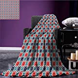 Moroccan couch blanket Vibrant Geometric Mosaic of Ancient Arabian Tiles with Star Motifs Custom Scarlet Teal and Navy Blue size:59''x35.5''