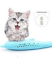 Volwco Haustier Katze Fischform Zahnbürste, Katze Zahnbürste, Katzenminze Spielzeug Simulation Fischform, Fisch Flop Katzenspielzeug, Haustier Katze Fischform Zahnbürste mit Katzenminze