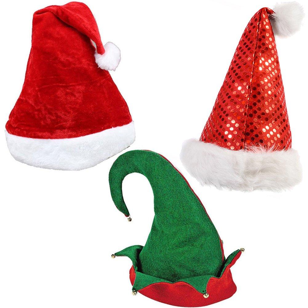 bd3632c2d5af4 Set of 3 Holiday Hats - Felt Elf Hat Red Coil Santa Hat